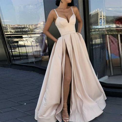 Elegant Retro Slip V-neck Tube Top Side Slit Evening Dress