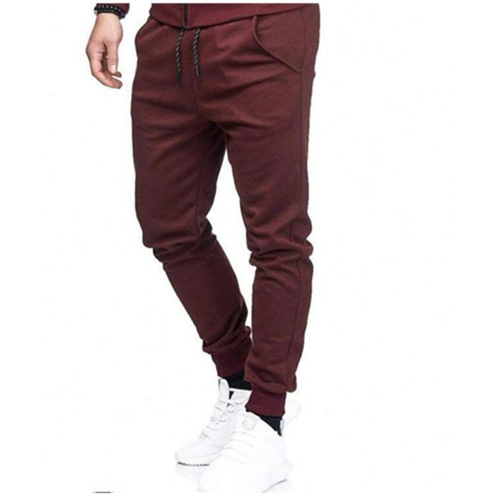 Solid Color Slim Sweatpants Cotton Casual Fitness Trousers