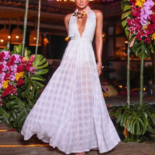 Fashion Halter Deep V-Neck Solid Color Perspective Dress