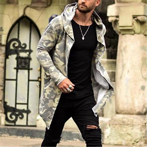 Fashion Camouflage Hooded Trench Coat