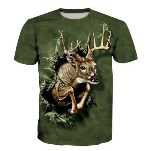 3D Elk Print Short Sleeve Men's T-Shirt