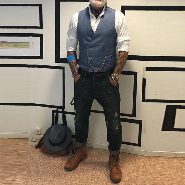 Men's Double Breasted Pocket Vest
