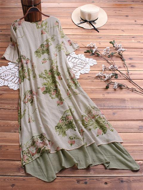 Double layered Floral Print Maxi Dress