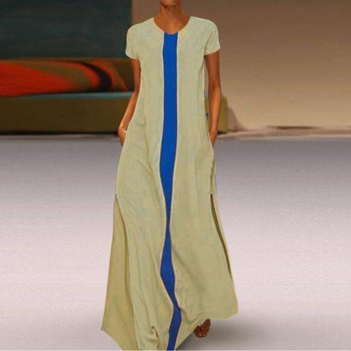 Casual Striped Plus Size Dress Vintage Vestidos Party Long Maix Dress