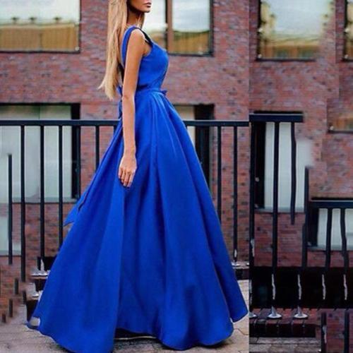V-neck Solid Color Bow Evening Dress