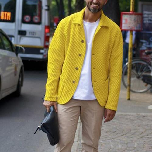 Fashion yellow long sleeves folding collar jacket