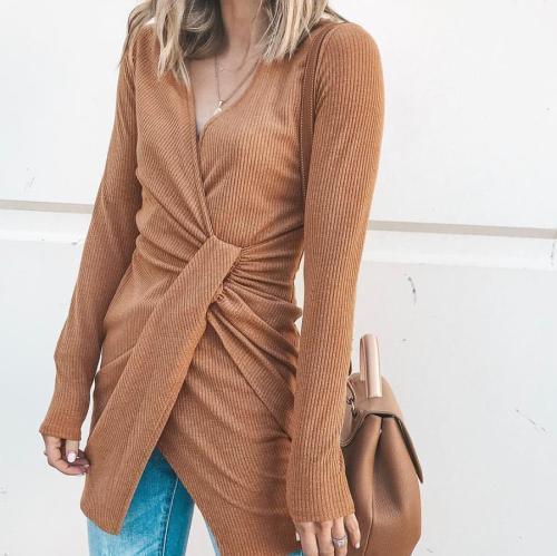 New V-Neck Irregular Long-Sleeved Dress