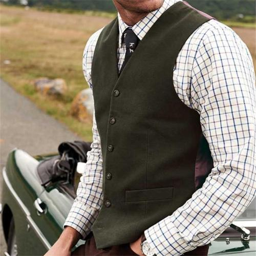 Flashmay Double Pocket Single-Breasted Vest