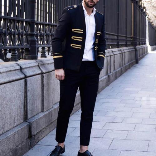 Men's Solid Color Decorative Button Blazer
