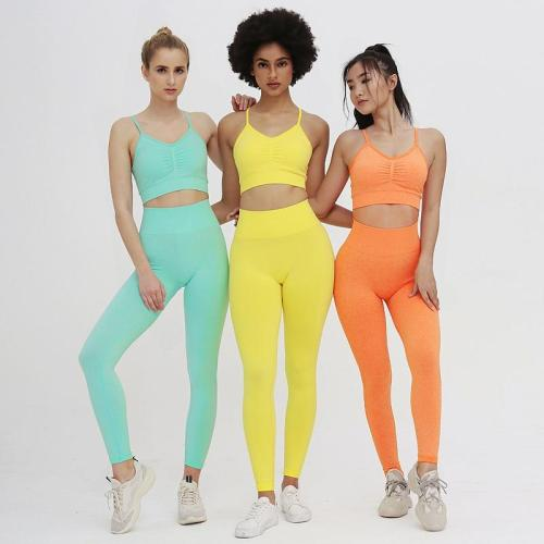 Women Candy Color Yoga Suit Two Piece Running Gym Set Sports Bra Seamless Fitness Leggings Training Sports Suit Active Wear
