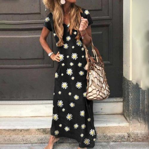 2020 Vintage Daisy Long Dress Loose Beach Summer Dresses Fashion Casual Women Floral Dress Short Sleeve Sundress Woman Robe