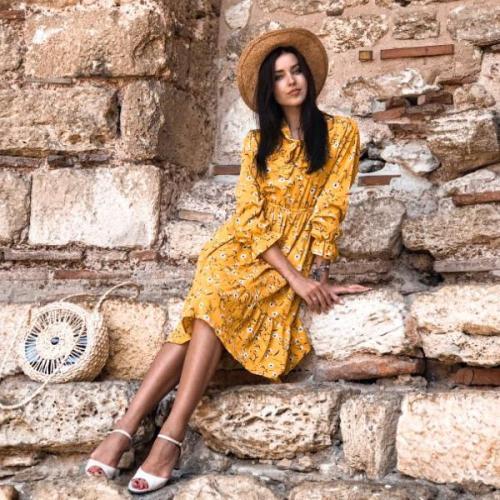 Polka Dot Vintage Autumn Dresses Women Dresss Pring 2020 Midi Floral Long Sleeve Casual Dresses