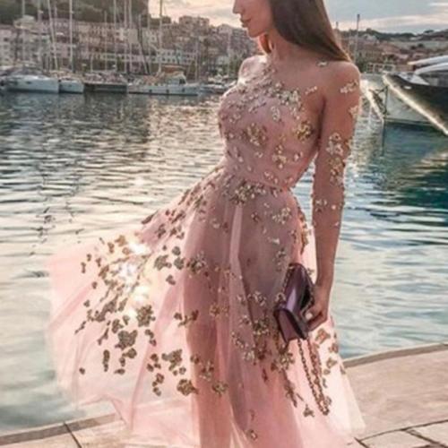 Sheer Mesh Sequin Evening Dress
