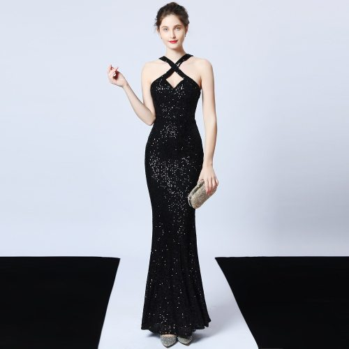 sexy Dew shoulder Charming Prom evening dress Formal Party sequins Evening dresses Elegant Net yarn mermaid evening gown