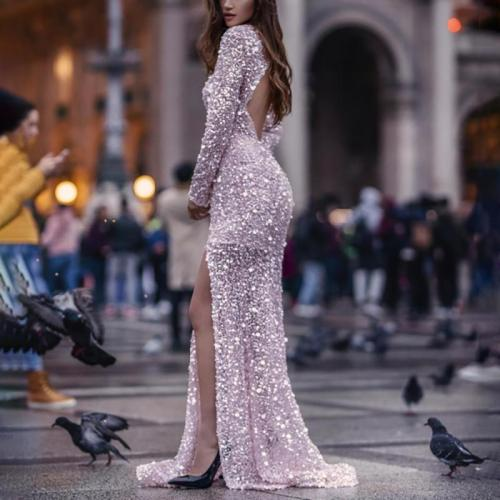 Women's Sexy Long Sleeve Sequined Split Dress