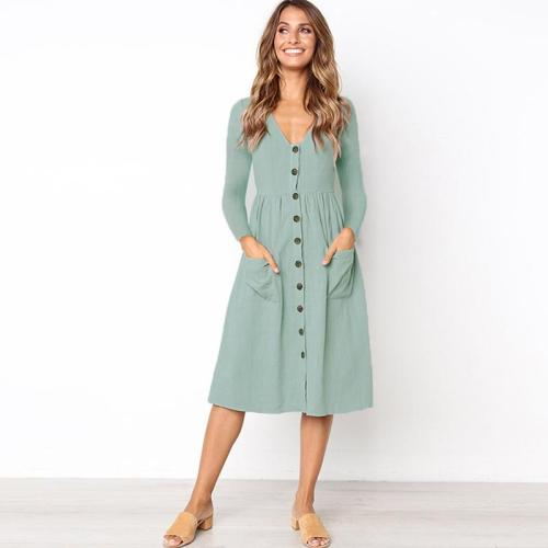 New Arrival 2019 Autumn Fashion Women Clothing Robe Casual Dresses Long Sleeve Pockets Loose Dress Female Solid Button Dress
