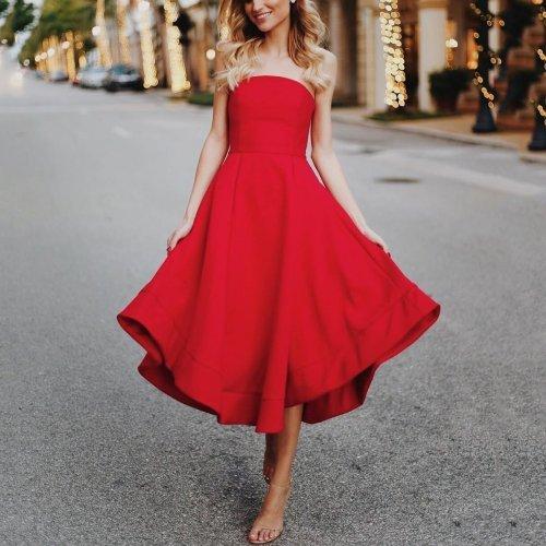 Sexy Red Sleeveless Skater Dress Maxi Dress Evening Dress
