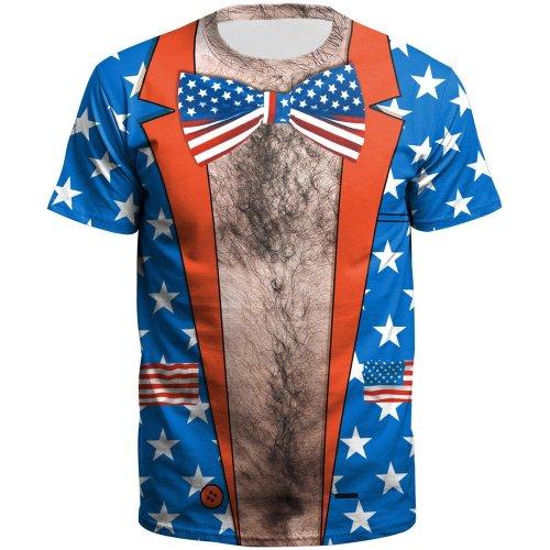 3D American Flag Printed Short Sleeve T-shirt