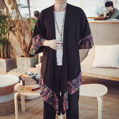 #4225 Spring 2019 Cardigans Kimono Jacket Men Vintage Linen Long Trench Coat For Men Cloak And Cape Windbreaker Plus Size XXXXXL