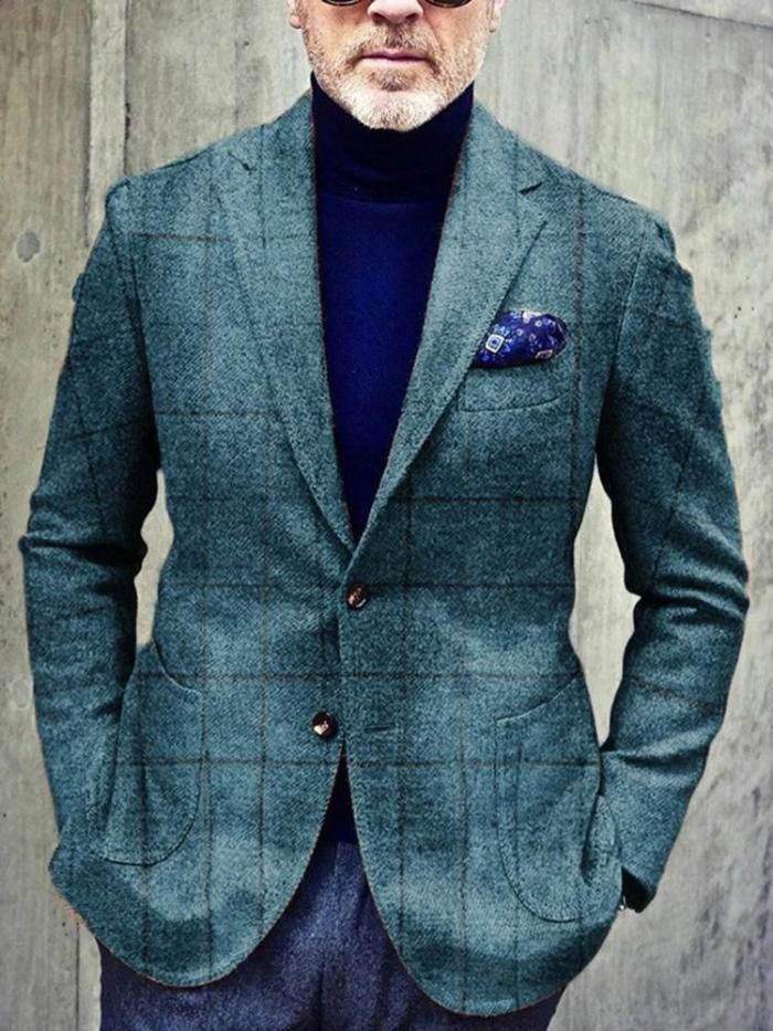 VintagePatch Pocket Single-breasted Tailored Collar Plaid Blazer
