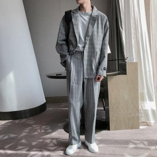 Men 2 Pieces Casual Loose Plaid Suit Blazers Jacket+pant Sets Male Streetwear Vintage Fashion Suits