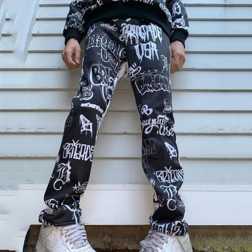 Black letter casual mens trousers TT010