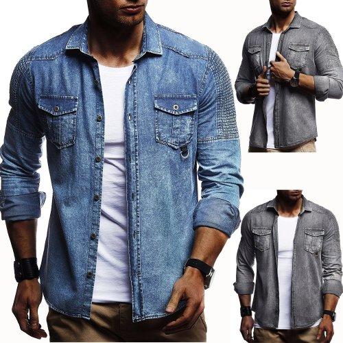 Solid Color Pleated Men's Long-Sleeved Denim Jacket