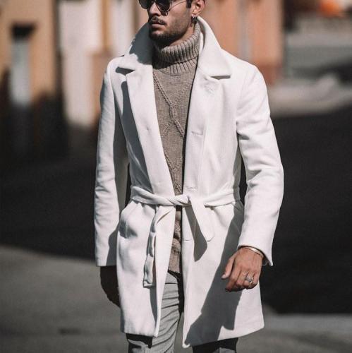 Men's Hound Stooth Long Woolen Coat