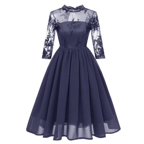 New Banquet Evening Dress Female Shinning Sexy embroidery Party Dresses Elegant chiffon Prom Dress Dignified evening gown