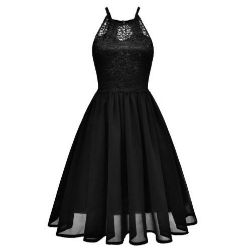 chiffon Sling  Vintage Sexy lace Dress Female Dew shoulder elegant  Dresses evening dresses  women dress evening party