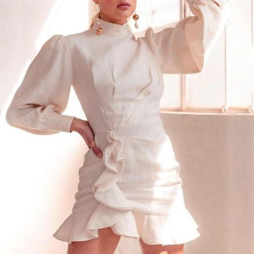Women's fashion pure color puff sleeve dress