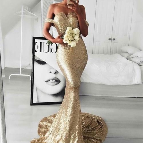 Sexy Sequined V-neck Backless Slim Evening Dress