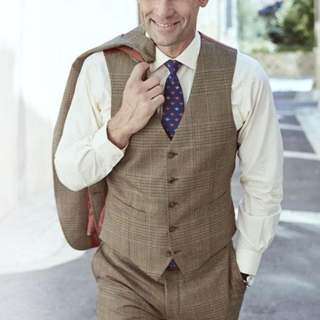 Retro formal men's check v neck vest