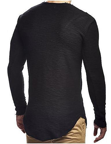 Men Daily Solid Colored Round Neck Sports Basic Slim T-shirt