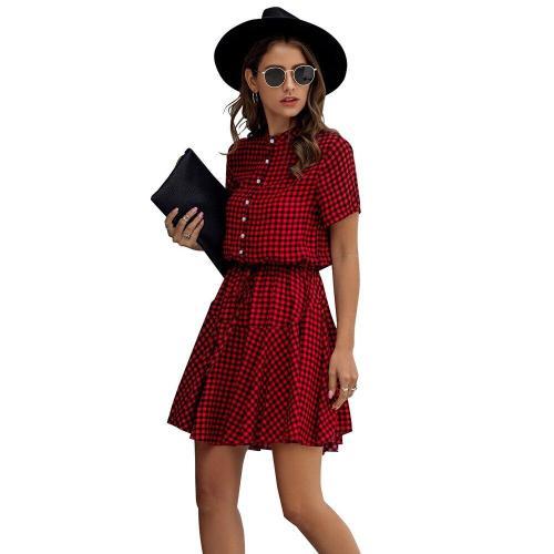 Ladies Plaid Mini Dress Women Summer A-line Casual streetwear Elegant Shirt Dress Female Sashes Button Women Sundress Vestidos