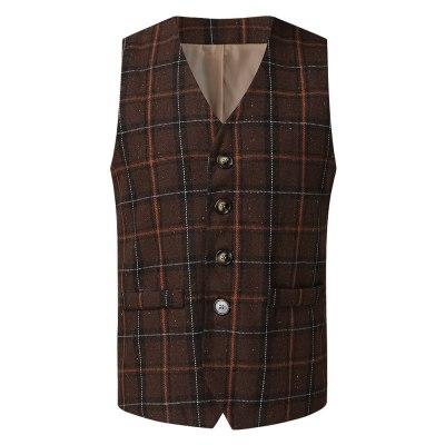 Explosion Model Dress Vest Men Lattice Single-Breasted Suit Vest Male Waistcoat chaleco hombre Casual Sleeveless Business Jacket