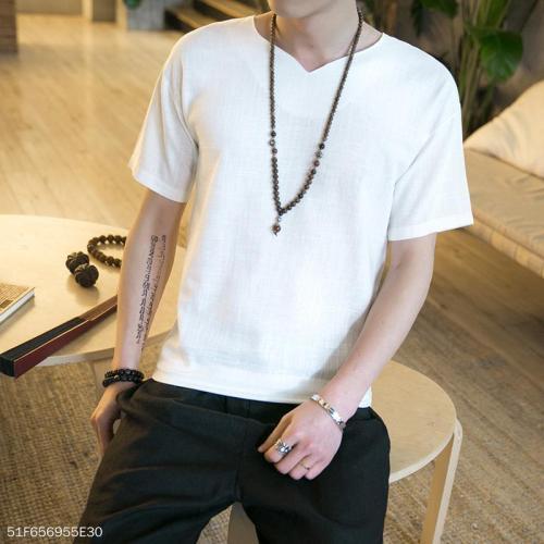 Casual V Collar Plain Loose Shirt
