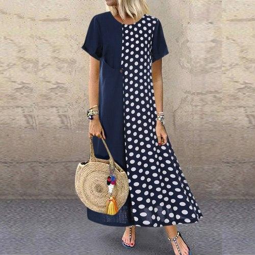 Summer Dresses Women Plus Size Women Cotton and Linen Dot Print Pachwort O-Neck Pockets Casual Dress Loose Dress