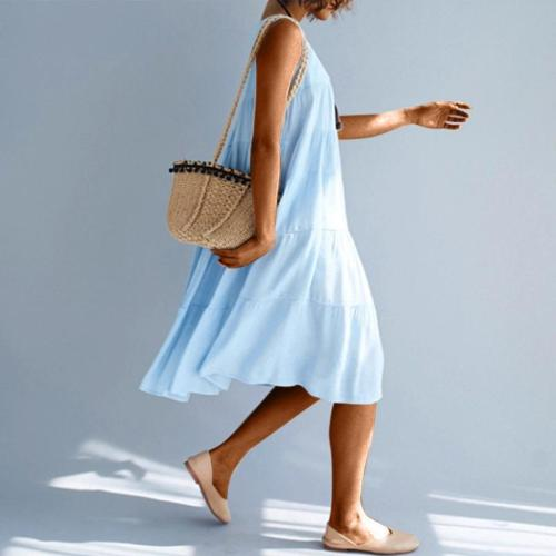 Casual Round Neck Sleeveless Pleated Pure Colour Splicing Dress Evening Dress