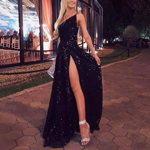 Strap long sexy backless evening dress