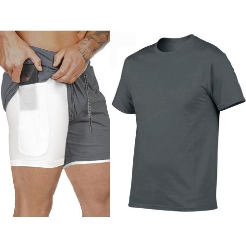 Summer Sport Suit Men's Sets T Shirts+shorts Two Pieces Sets Casual Tracksuit O-Neck Solid Sportswear Sweatsuit Tracksuit Men