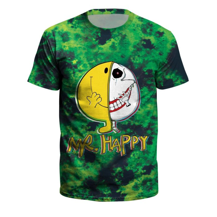 Mr Happy Printed Round Neck Pullover Short Sleeve T-shirt
