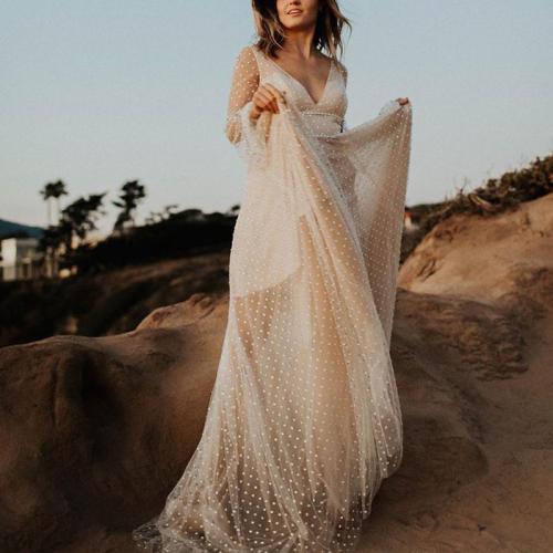 Elegant Sexy Mesh Deep V Perspective Long Sleeve Evening Dress