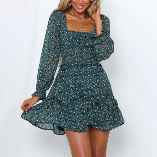 Cute Square-Cut Collar Long Sleeve Printed Colour Dress