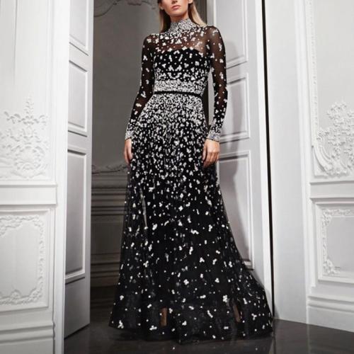 Stylish Turtleneck Print Long Sleeve Dress