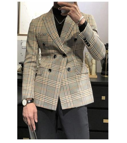 2020 Men's Tuxedos New Arrival Plaid Casual Double Breasted Slim Fit Blazer Mens Suit (Only Jacket)