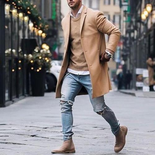 Coat For Men 2019 Winter Wool Jacket Men's High-quality Wool Coat Casual Slim Collar Woolen Coat Men's Long Trench Coat