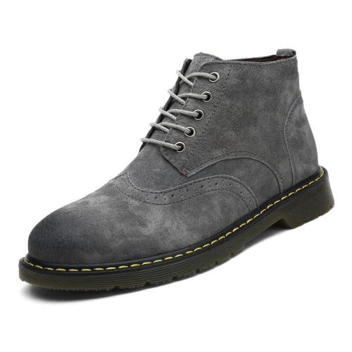 2019 Autumn&Winter Men Brogue Boots High Quality Leather Ankle Boots Man's Casual Shoes Working Fahsion Men Boots Big Size 38-47