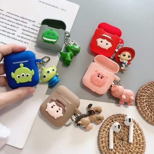 Toy Story Hamm Piggy Bank Rex The Dinosaur Red Heart 3D Silicone AirPod Case Cover with Doll