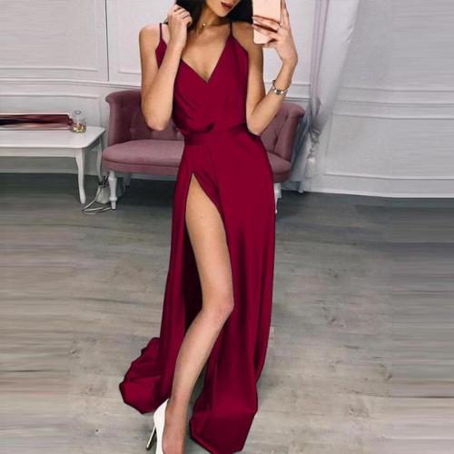 liva girl Women Long Silk Dress Ladies V Neck Solid High Waist Party Dresses Summer Spaghetti Strap Sexy Split Maxi Dress